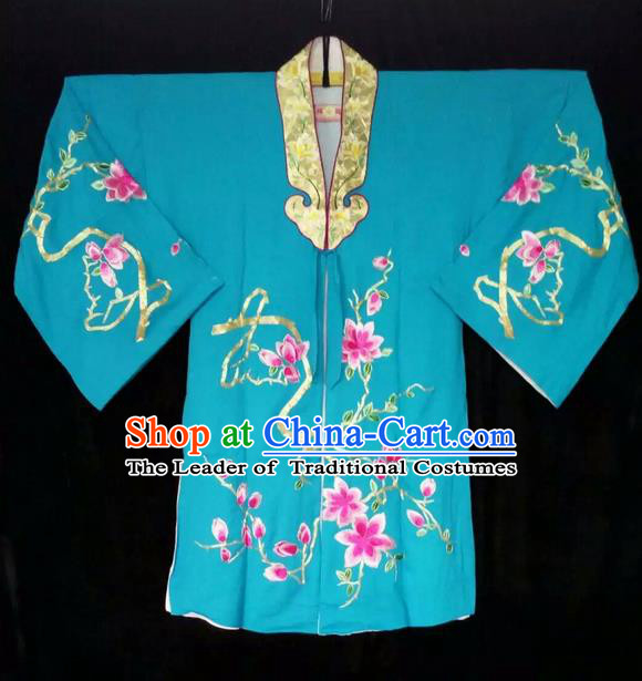 Traditional Chinese Peking Opera Costumes, China Beijing Opera High-grade Embroidered Flower Wearing Ming Dynasty Green Robe for Women
