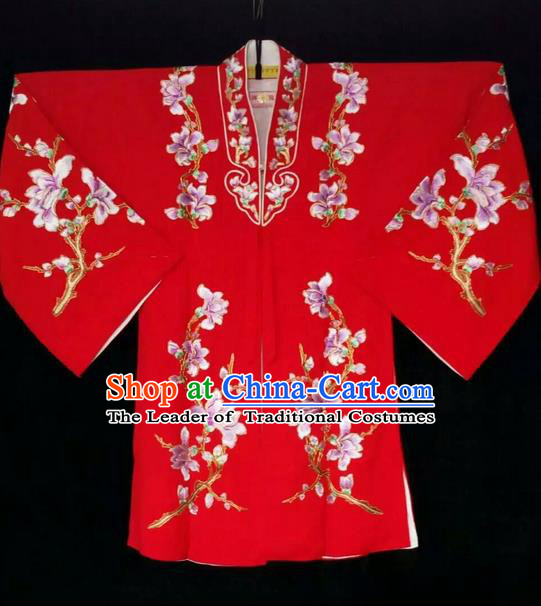 Traditional Chinese Peking Opera Costumes, China Beijing Opera High-grade Embroidered Flower Wearing Ming Dynasty Red Robe for Women