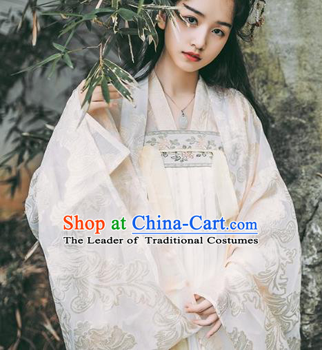 Traditional Chinese Ancient Tang Dynasty Noble Lady Costumes, China Princess Hanfu Embroidered Blouse and Ru Skirt Complete Set for Women