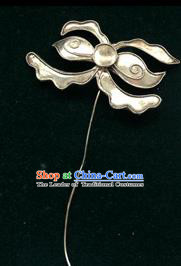 Traditional Handmade Chinese Ancient Classical Miao Silver Handmade Hair Accessories Flower Hairpin Hair Fascinators for Women