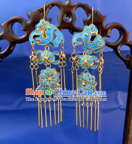 Traditional Chinese Ancient Classical Handmade Earrings Jewelry Accessories Hanfu Palace Long Tassel Mandarin Duck Eardrop for Women