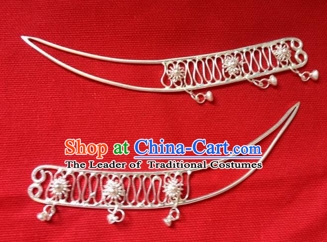 Traditional Chinese Ancient Classical Handmade Miao Silver Hairpin Jewelry Accessories Hanfu Palace Combs and Sticks for Women