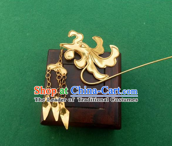 Traditional Chinese Ancient Classical Handmade Phoenix Head Tassel Golden Hairpin Jewelry Accessories Hanfu Classical Palace Combs and Sticks for Women