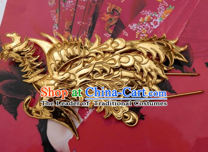 Traditional Chinese Ancient Classical Handmade Phoenix Golden Hairpin Hair Jewelry Accessories Hanfu Classical Palace Combs Hair Sticks for Women
