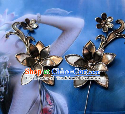 Traditional Chinese Ancient Classical Handmade Flower Hairpin Hair Jewelry Accessories Hanfu Classical Palace Combs Hair Sticks for Women