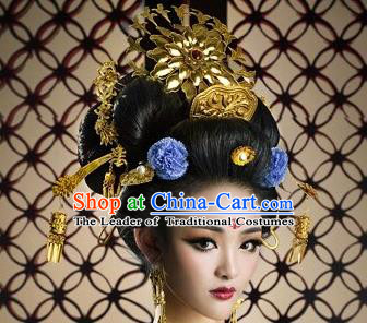 Traditional Chinese Ancient Classical Handmade Tang Dynasty Imperial Consort Hairpin Hair Jewelry Accessories Hanfu Classical Palace Combs Hair Sticks Complete Set for Women