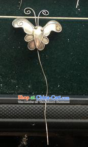 Traditional Chinese Ancient Classical Miao Silver Handmade Hair Accessories Little Butterfly Hairpin Hair Fascinators for Women