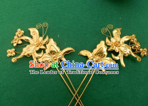 Traditional Chinese Ancient Classical Handmade Love of Butterfly Hairpin Jewelry Accessories Hanfu Palace Golden Combs and Sticks for Women