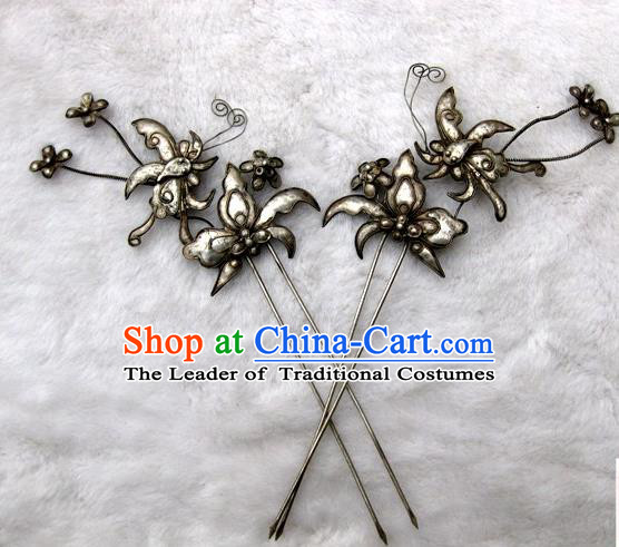 Traditional Chinese Ancient Classical Handmade Love of Butterfly Hairpin Jewelry Accessories Hanfu Palace Combs and Sticks for Women