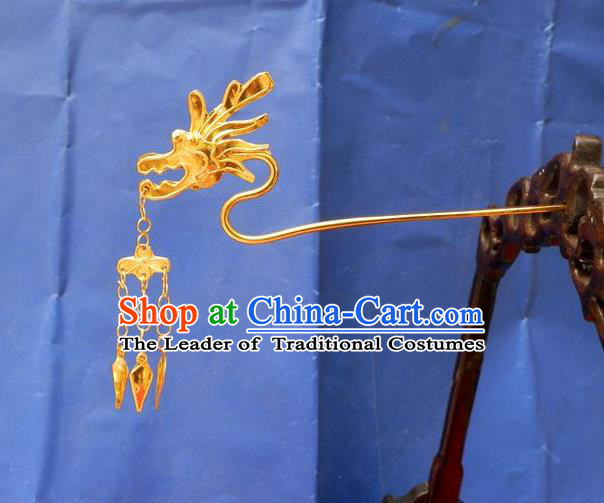Traditional Chinese Ancient Classical Handmade Dragon Head Tassel Golden Hairpin Jewelry Accessories Hanfu Classical Palace Combs and Sticks for Women