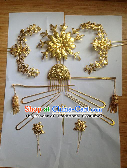 Traditional Chinese Ancient Classical Handmade Tang Dynasty Imperial Consort Hairpin Phoenix Coronet Jewelry Accessories Hanfu Classical Bride Combs Hair Sticks Complete Set for Women