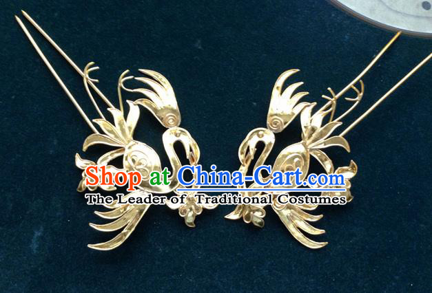 Traditional Chinese Ancient Classical Handmade Imperial Consort Hairpin Phoenix Hair Ornaments Jewelry Accessories Hanfu Classical Hair Sticks for Women