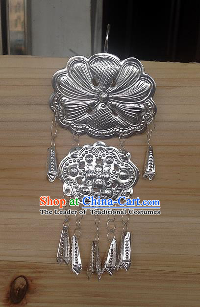 Traditional Handmade Chinese Ancient Classical Miao Silver Long Tassel Pendant Accessories for Women