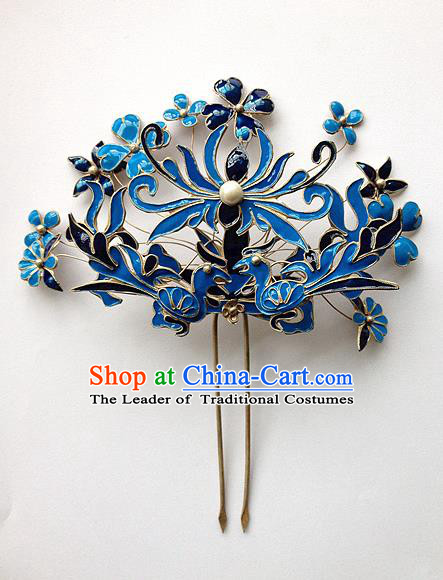 Traditional Handmade Chinese Ancient Classical Hair Accessories Bride Wedding Blueing Barrettes Hair Sticks, Hair Fascinators for Women