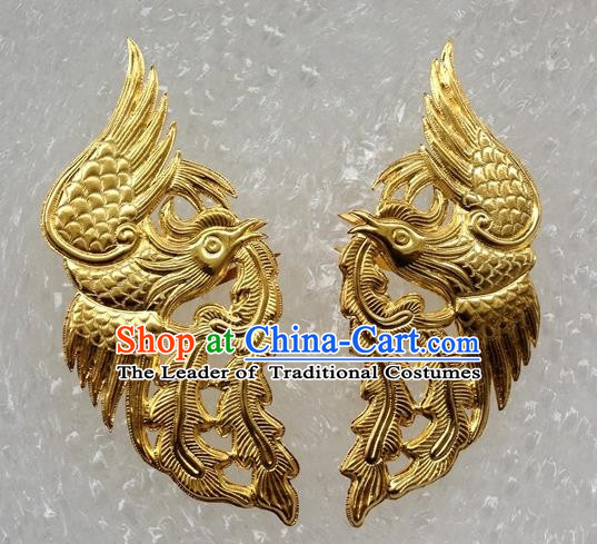 Traditional Handmade Chinese Ancient Classical Hair Accessories Gold Plating Phoenix Barrettes Hairpins, Hair Sticks Jewellery for Women