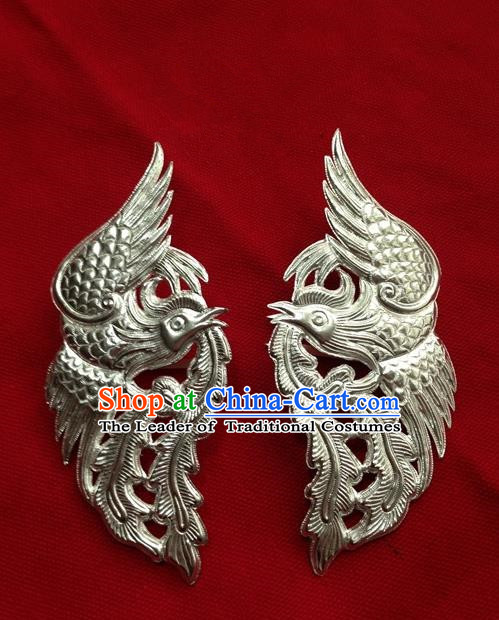 Traditional Handmade Chinese Ancient Classical Hair Accessories Pure Sliver Phoenix Barrettes Hairpins, Hair Sticks Jewellery for Women
