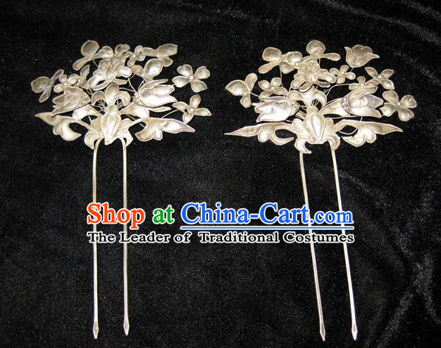 Traditional Handmade Chinese Ancient Classical Hair Accessories Butterfly Hair Sticks Hair Jewellery, Hair Fascinators Hairpins for Women