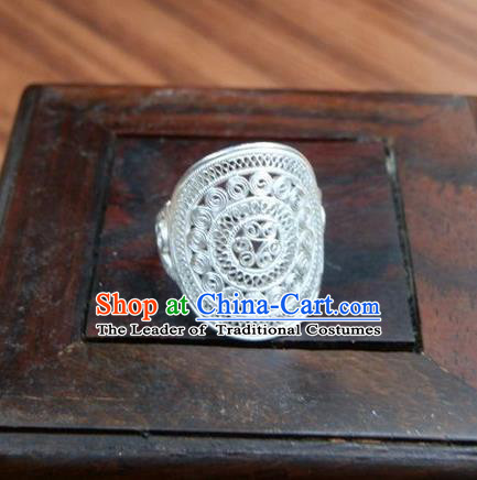 Traditional Handmade Chinese Ancient Classical Accessories Miao Sliver Ring Palace Lady Finger Ring for Women