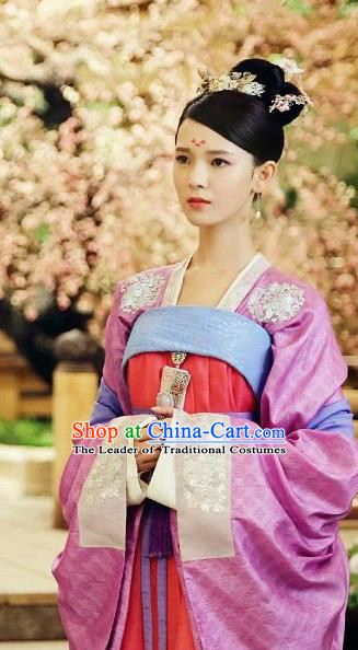 Chinese Ancient Tang Dynasty Imperial Princess Costume and Headpiece Complete Set, Traditional Chinese Ancient Peri Female Officials Princess Dress for Women