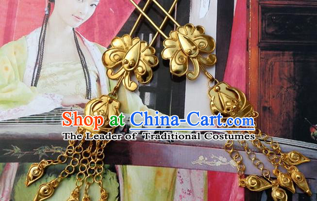 Traditional Handmade Chinese Ancient Classical Hair Accessories Barrettes Butterfly Tassel Hairpin, Step Shake Hair Claws Hairpins for Women