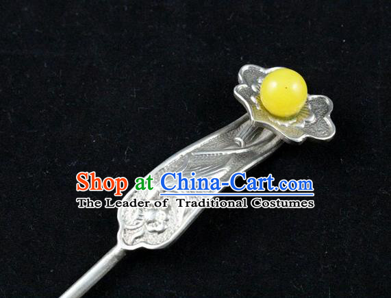 Traditional Handmade Chinese Ancient Classical Hair Accessories Barrettes Yellow Bead Hairpins Step Shake Hair Sticks for Women