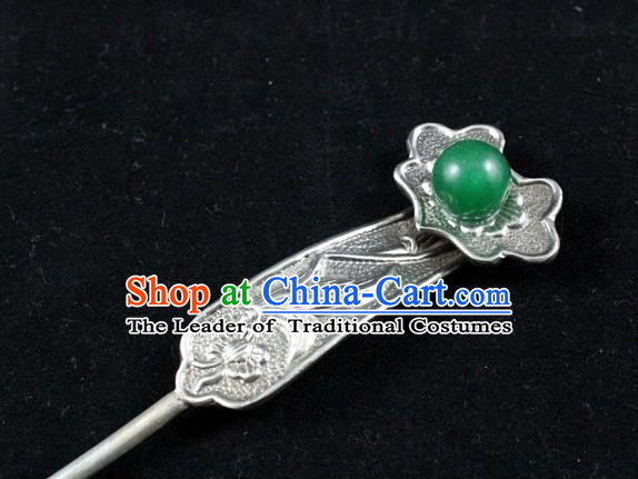 Traditional Handmade Chinese Ancient Classical Hair Accessories Barrettes Green Bead Hairpins Step Shake Hair Sticks for Women