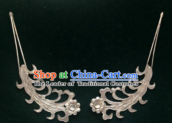 Traditional Handmade Chinese Ancient Classical Hair Accessories Barrettes Sliver Hairpins Palace Bride Hair Clasp Hair Sticks for Women