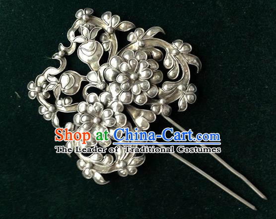 Traditional Handmade Chinese Ancient Classical Hair Accessories Barrettes Sliver Filigree Hairpins Palace Bride Hair Clasp Hair Sticks for Women
