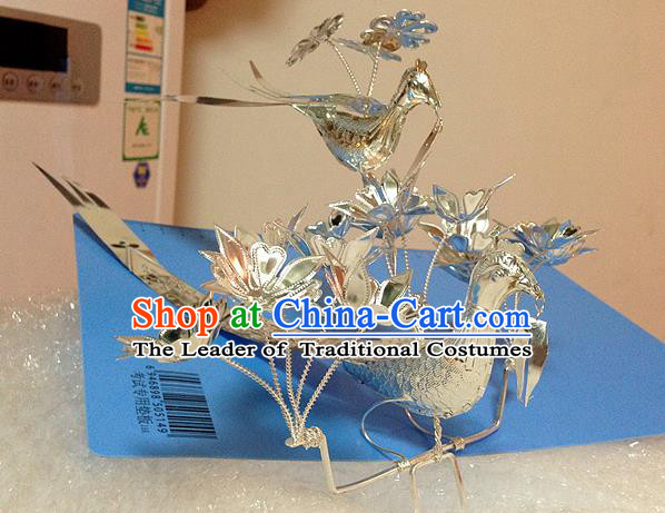 Traditional Handmade Chinese Ancient Classical Hair Accessories Miao Nationality Sliver Birds Princess Hat, Hmong Headwear Hair Jewellery, Hair Fascinators Tuinga for Women