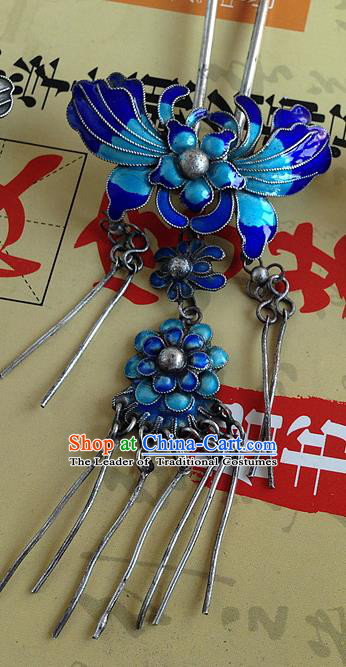 Traditional Handmade Chinese Ancient Classical Hair Accessories Barrettes Sliver Blueing Hairpin, Butterfly Step Shake Hair Sticks Tassel Hairpins for Women