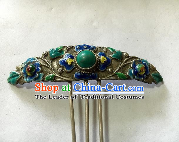 Traditional Handmade Chinese Ancient Classical Hair Accessories Barrettes Sliver Hairpin, Enamel Step Shake Hair Sticks Tassel Hairpins for Women