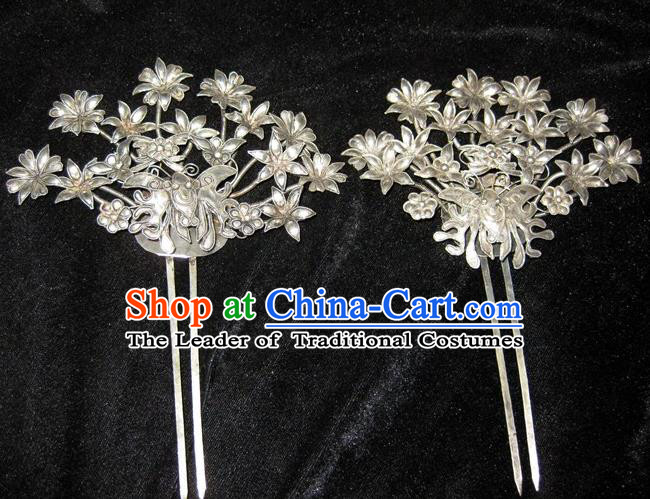Traditional Handmade Chinese Ancient Classical Hair Accessories Barrettes Phoenix Hairpin, Qing Dynasty Step Shake Hair Fascinators Hairpins for Women