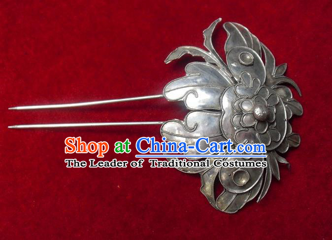 Traditional Handmade Chinese Ancient Classical Hair Accessories Barrettes Palace Lady Hairpin, Qing Dynasty Butterfly Sliver Step Shake Hair Fascinators Hairpins for Women