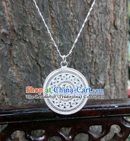 Traditional Handmade Chinese Miao Nationality Ancient Classical Pendant Accessories Hmong Sliver Sweater Chain Pendent for Women
