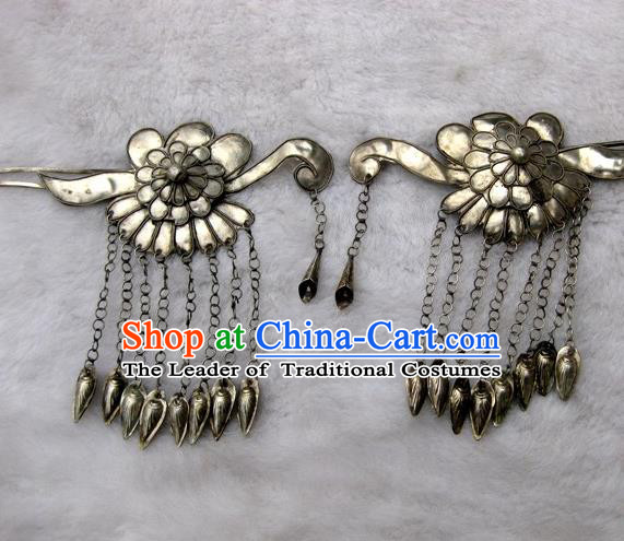 Traditional Handmade Chinese Ancient Classical Hair Accessories Barrettes Lucky Flower Hairpin, Step Shake Twain Hair Sticks Hair Fascinators for Women