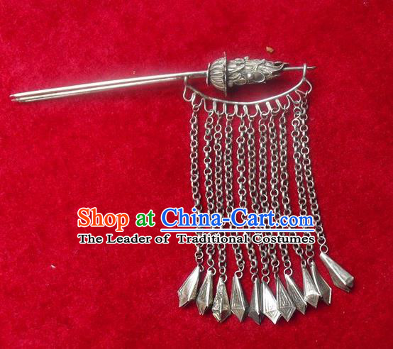 Traditional Handmade Chinese Ancient Classical Hair Accessories Barrettes, Palace Lady Long Tassel Hairpin Step Shake Hair Sticks for Women