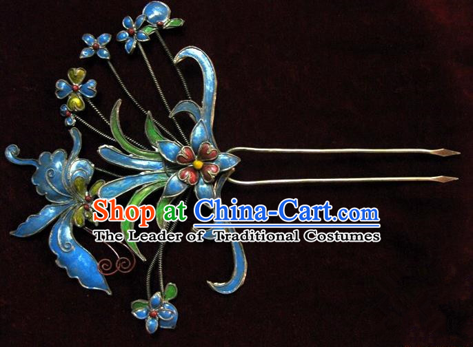 Traditional Handmade Chinese Ancient Classical Hair Accessories Barrettes, Palace Lady Blueing Flower Hairpin Step Shake Hair Sticks for Women