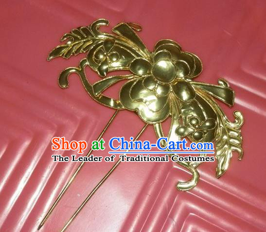 Traditional Handmade Chinese Ancient Classical Hair Accessories Barrettes Hairpin, Step Shake Headwear, Hair Claw Golden Butterfly Hairpins for Women