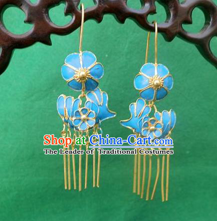 Traditional Handmade Chinese Ancient Classical Earrings Accessories Blueing Mandarin Duck Eardrop for Women