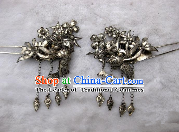 Traditional Handmade Chinese Ancient Classical Hair Accessories Barrettes Love of Butterfly Hairpin, Hanfu Hair Sticks Tassel Twain Hair Fascinators Hairpins for Women