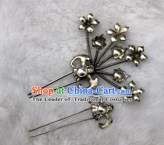 Traditional Handmade Chinese Ancient Classical Hair Accessories Barrettes Manchu Palace Lady Hairpin, Hanfu Hair Sticks Twain Hair Fascinators Hairpins for Women