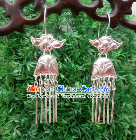 Traditional Handmade Chinese Ancient Classical Jewellery Accessories Pure Sliver Tassel Earrings, Ming Dynasty Wedding Eardrop for Women