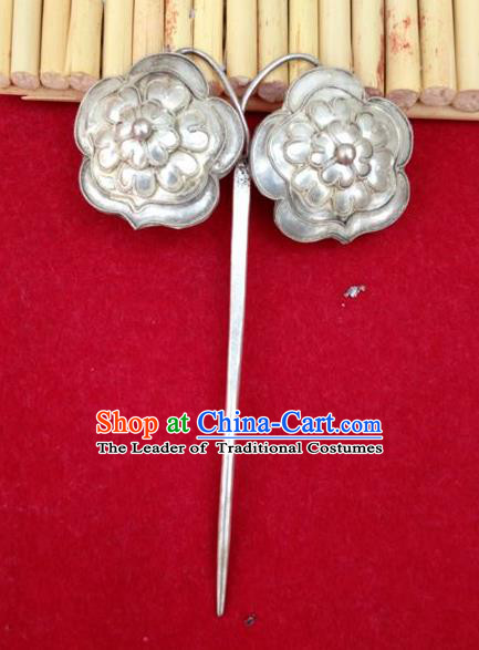 Traditional Handmade Chinese Ancient Classical Hanfu Hair Accessories Barrettes Miao Sliver Hairpin, Hair Sticks Hair Fascinators Hairpins for Women