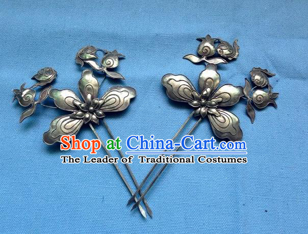 Traditional Handmade Chinese Ancient Classical Hanfu Hair Accessories Barrettes Miao Sliver Step Shake, Hair Sticks Hair Fascinators Hairpins for Women