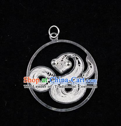 Traditional Handmade Chinese Ancient Classical Accessories Pure Sliver Chinese Zodiac Pendant Snake Lacing Pendent for Women
