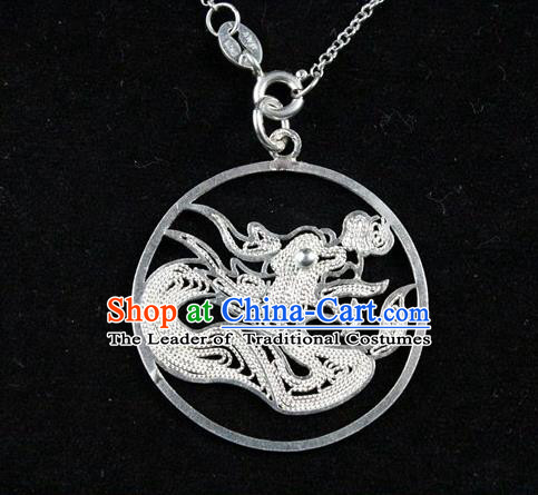 Traditional Handmade Chinese Ancient Classical Accessories Pure Sliver Chinese Zodiac Pendant Dragon Lacing Pendent for Women
