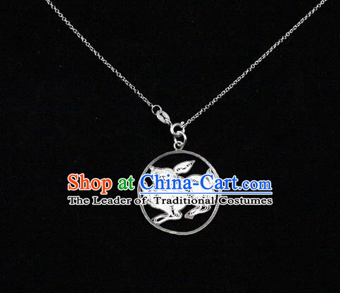 Traditional Handmade Chinese Ancient Classical Accessories Pure Sliver Chinese Zodiac Pendant Rabbit Lacing Pendent for Women