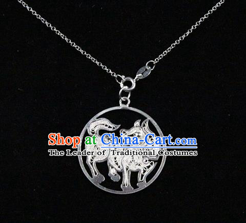 Traditional Handmade Chinese Ancient Classical Accessories Pure Sliver Chinese Zodiac Pendant Dog Lacing Pendent for Women