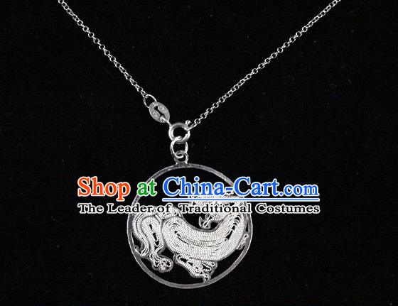 Traditional Handmade Chinese Ancient Classical Accessories Pure Sliver Chinese Zodiac Pendant Tiger Lacing Pendent for Women