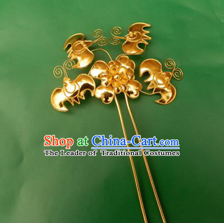 Traditional Handmade Chinese Ancient Classical Hair Accessories Barrettes Butterfly Golden Hairpin Step Shake Hair Sticks for Women